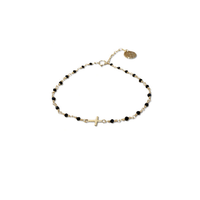 Bracelet croix spinelle et gold-filled 14k Natacha Audier Paris