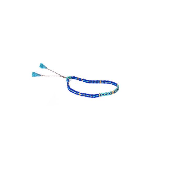Bracelet tissé réglable miyuki turquoise Natacha Audier Paris