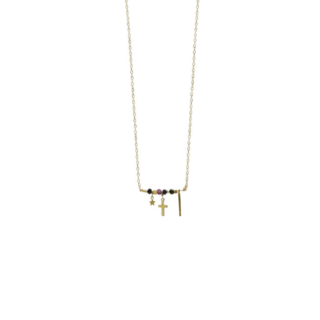 Collier barre Lady en spinelle et grenat GF 14k Natacha Audier Paris