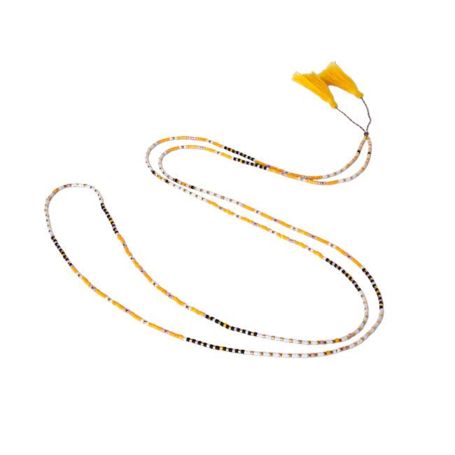 Collier de fil réglable miyuki jaune Natacha Audier Paris
