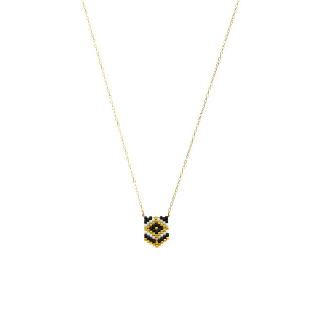Collier tissé miyuki blanc et gold-filled 14k Natacha Audier Paris