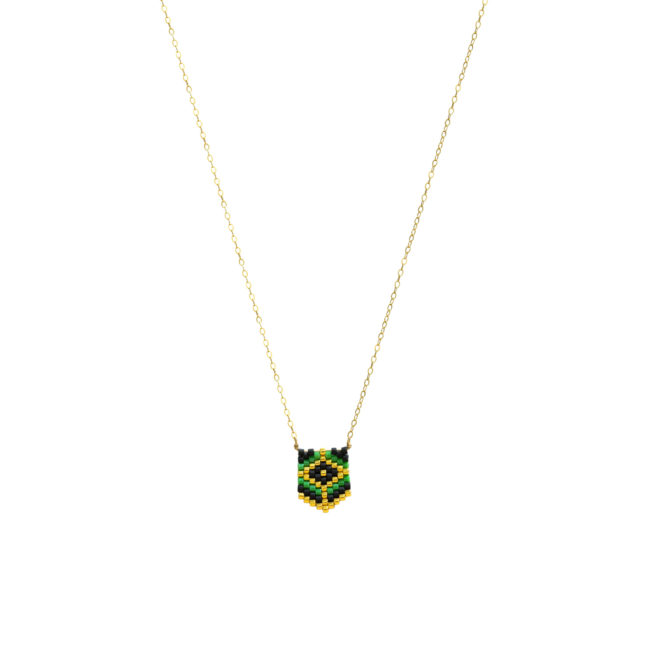 Collier tissé miyuki vert et gold-filled 14k Natacha Audier Paris
