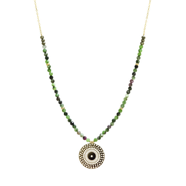 Collier rosace zoisite et gold-filled 14K Natacha Audier Paris