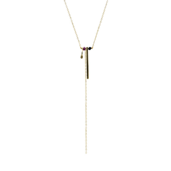 Collier tige Lady en spinelle et grenat GF 14k Natacha Audier Paris