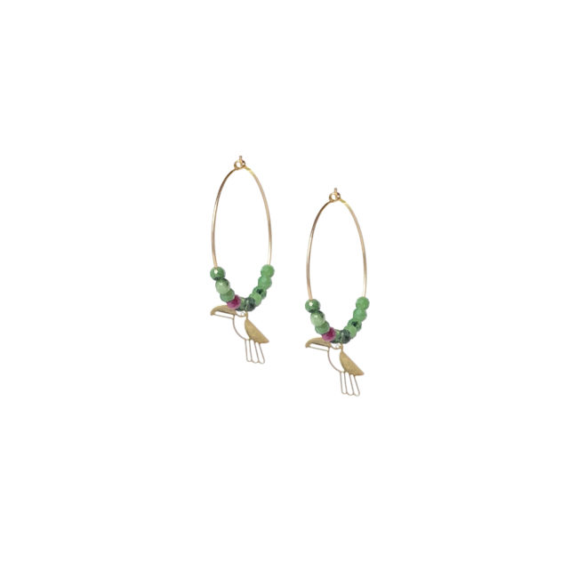 Créoles toucan zoisite et gold-filled 14K Natacha Audier Paris