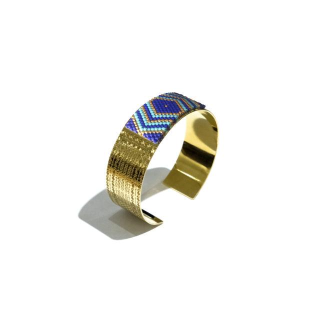 Jonc tissé miyuki turquoise et gold-filled 14k Natacha Audier Paris