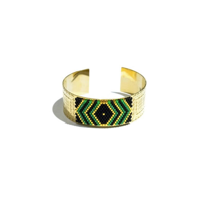 Jonc tissé miyuki vert et gold-filled 14k Natacha Audier Paris