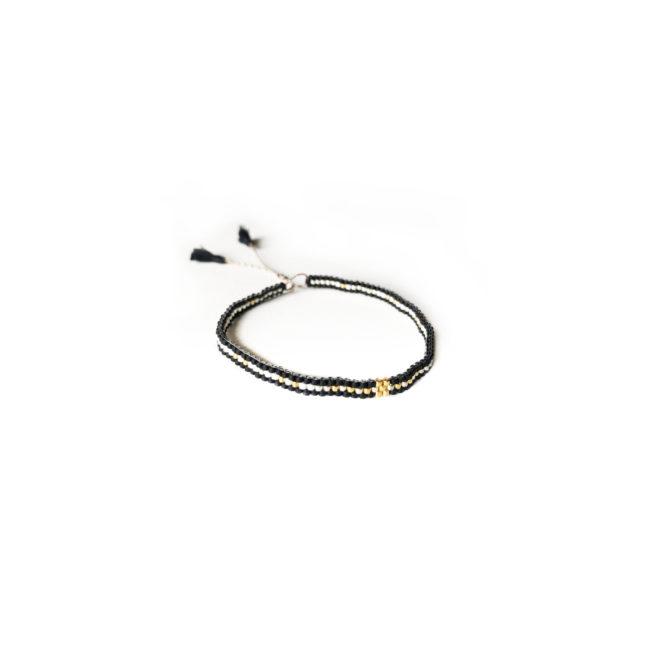 Bracelet tissé réglable miyuki noir Natacha Audier Paris
