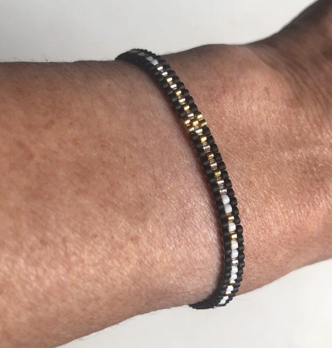 Bracelet tissé réglable noir Natacha Audier Paris